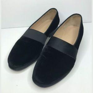 J Crew Black Velvet Heeled Loafers Made Italy